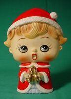 TILSO CHRISTMAS SINGING CAROLER WITH BELLS VINTAGE HAND PAINTED FIGURINE JAPAN