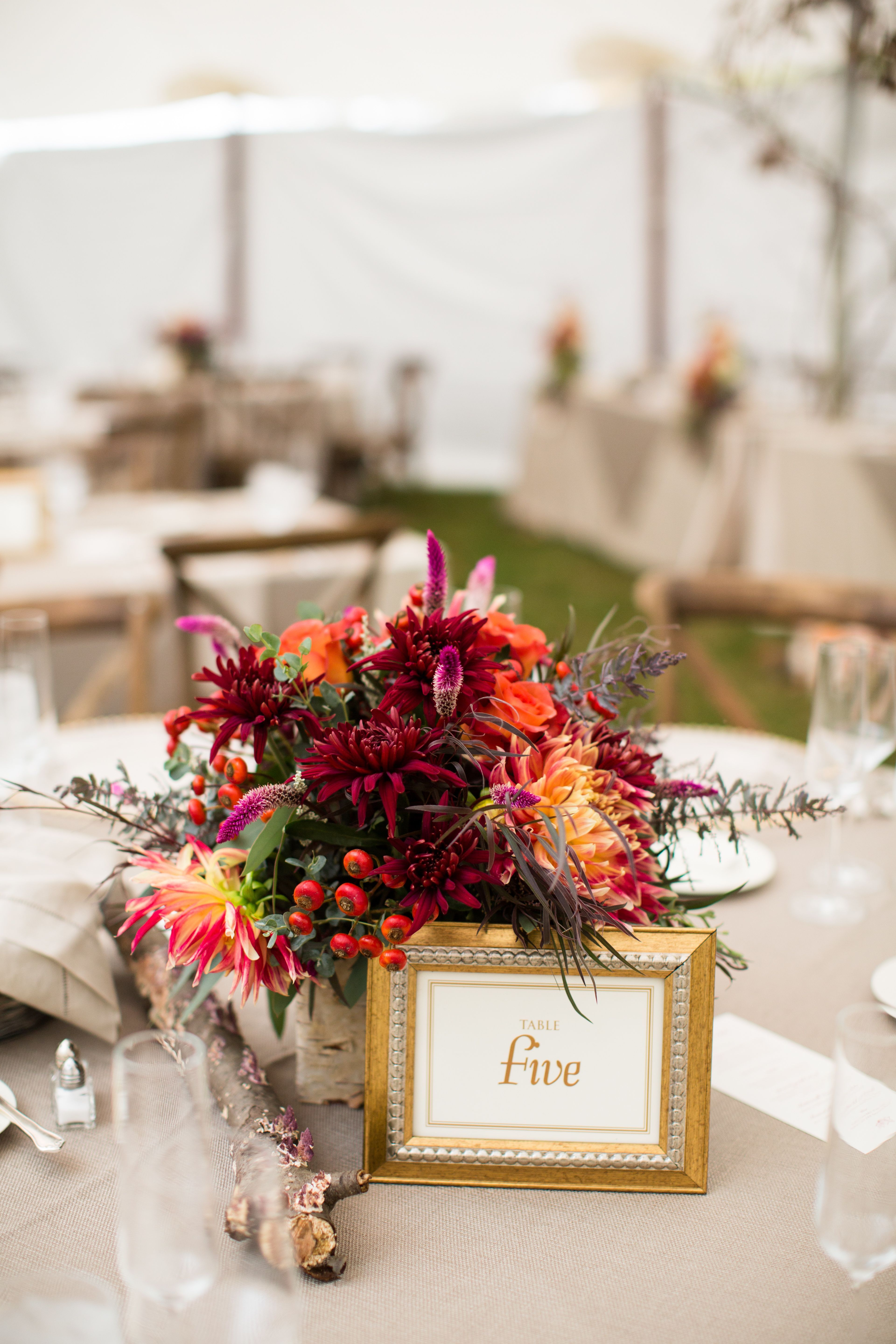 Red Flower Centerpiece, Gold Table Number | Wedding Ideas ...