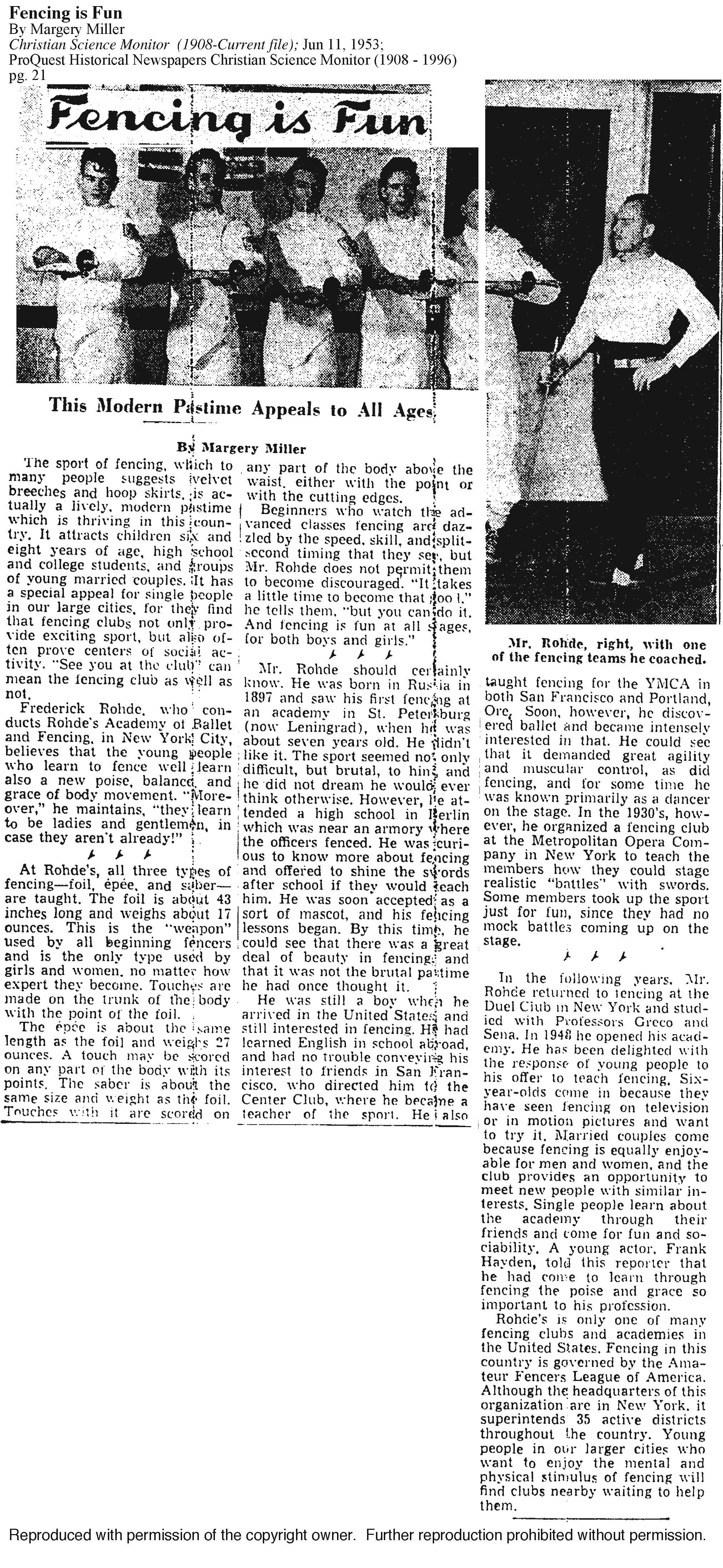 1953 Article about Maître Frederick Rohde's. Words, Word
