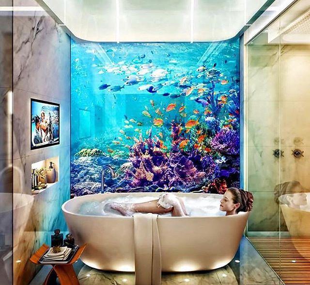 Beautiful Aquarium In Marble Bathroom Bathtub Luxury