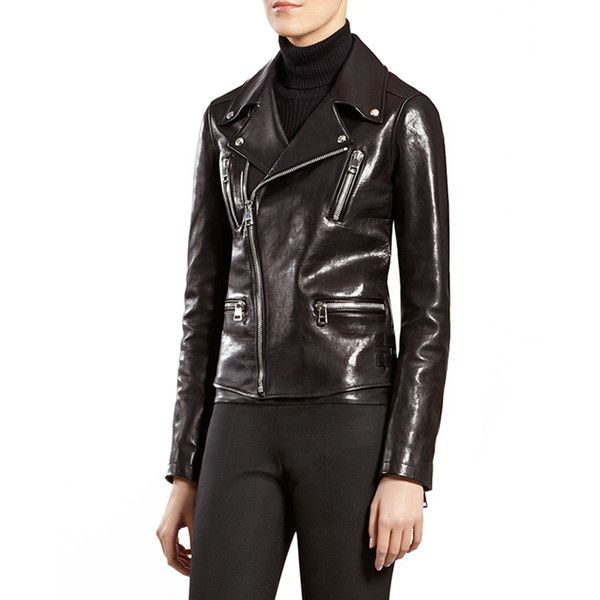 Gucci Black Leather Biker Jacket (5,300 CAD) ❤ liked on Polyvore featuring outerwear, jackets, black, black zipper jacket, real leather jacket, black motorcycle jacket, black leather jacket and zip jacket