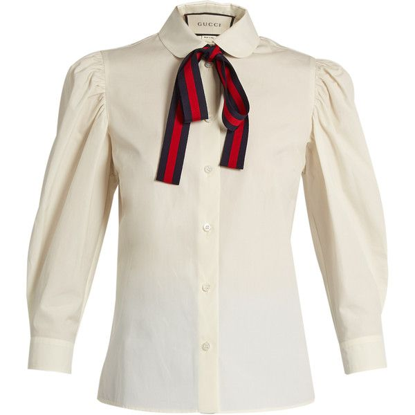 c72d134a6 Gucci Tie-neck cotton-poplin blouse (€790) ❤ liked on Polyvore featuring  tops, blouses, shirts, gucci, ivory, white floral shirt, white shirt, white  bow ...