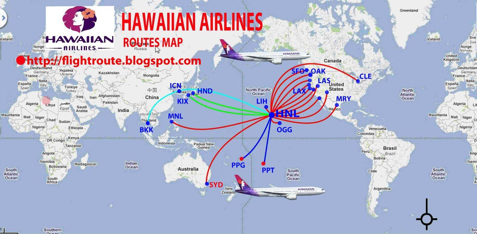 Hawaiian Airlines Hawaiian Airlines Route Map Hawaiian
