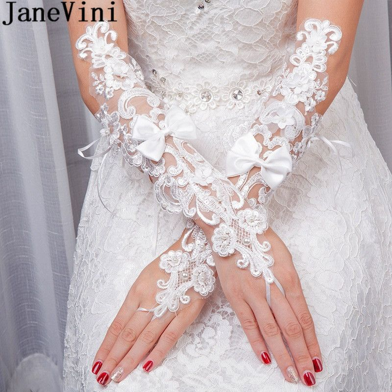 Janevini 2018 New Lace Fingerless Bridal Gloves Long Pearl Bow