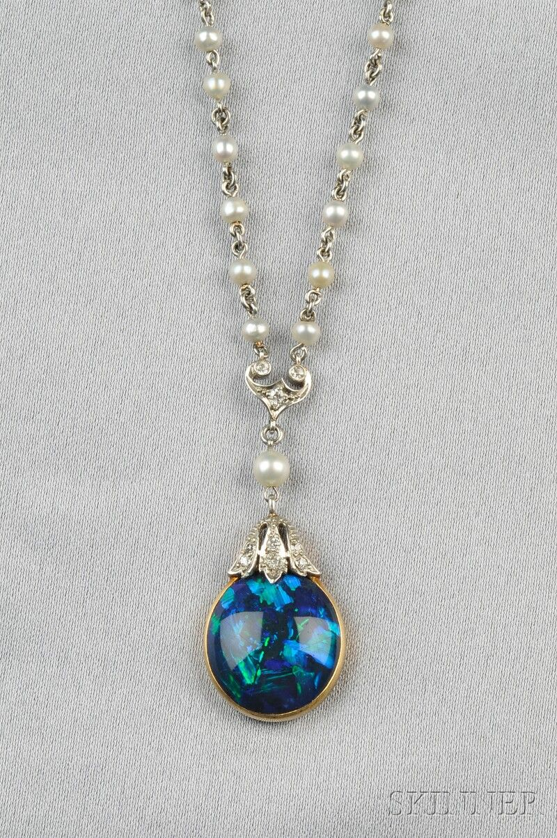 swirl motion opal teardrop sw jewelers black gold necklace wexford yellow