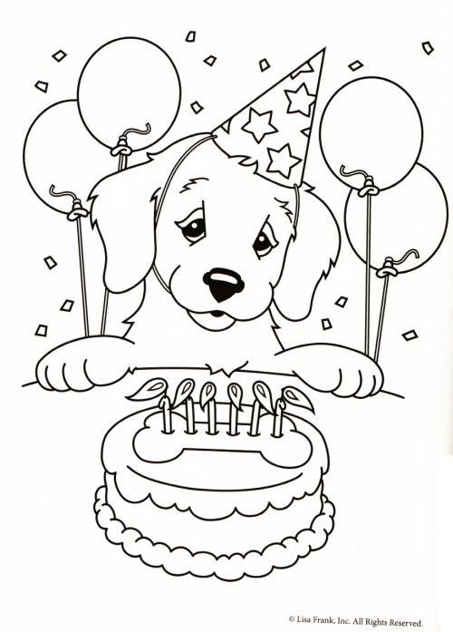 Kleurplaten Hond En Puppy.Kleurplaat Hond Verjaardagstaart Puppy Coloring Pages Dog