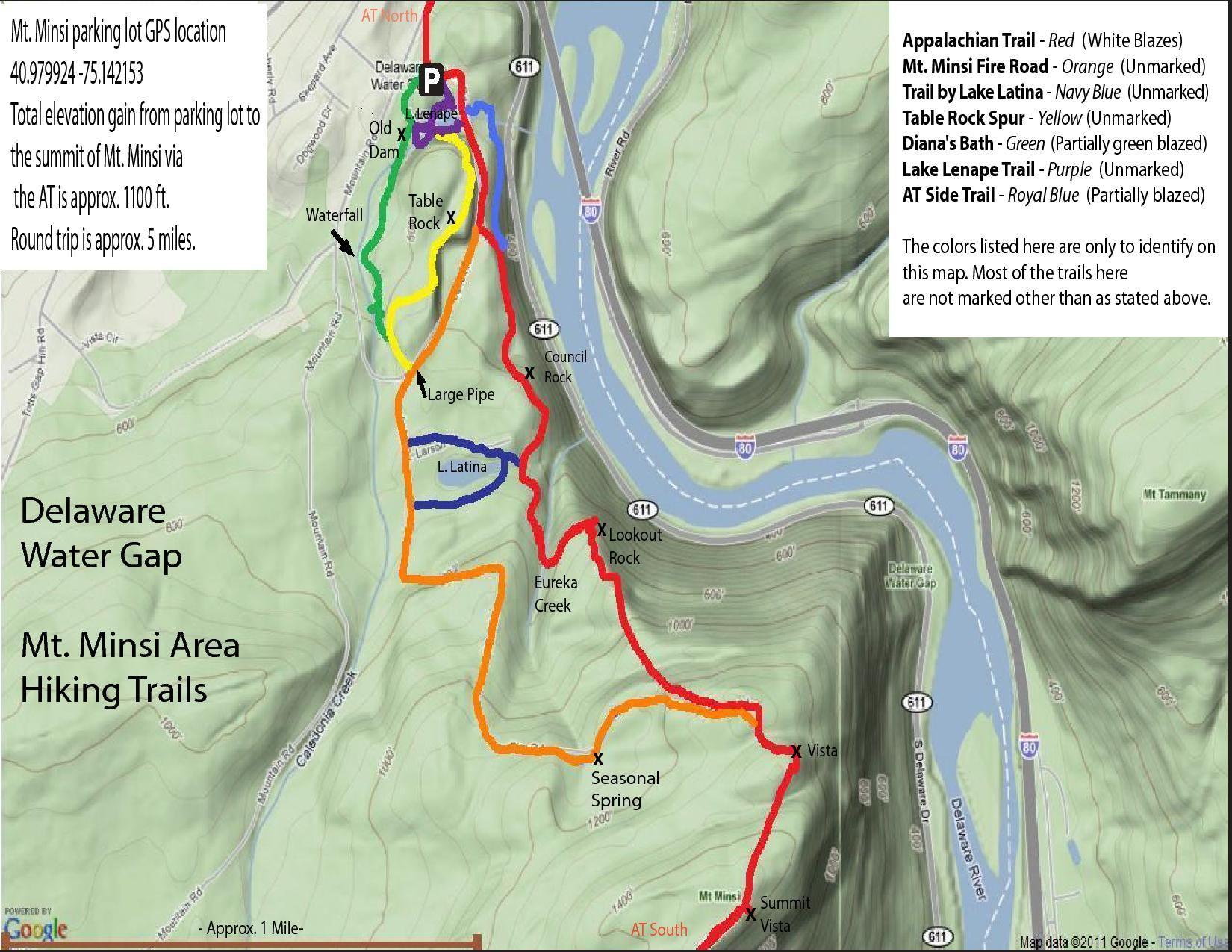 map delaware water gap Dwg Mt Minsi Area Map Jpg 1 650 1 275 Pixels Delaware Water Gap map delaware water gap