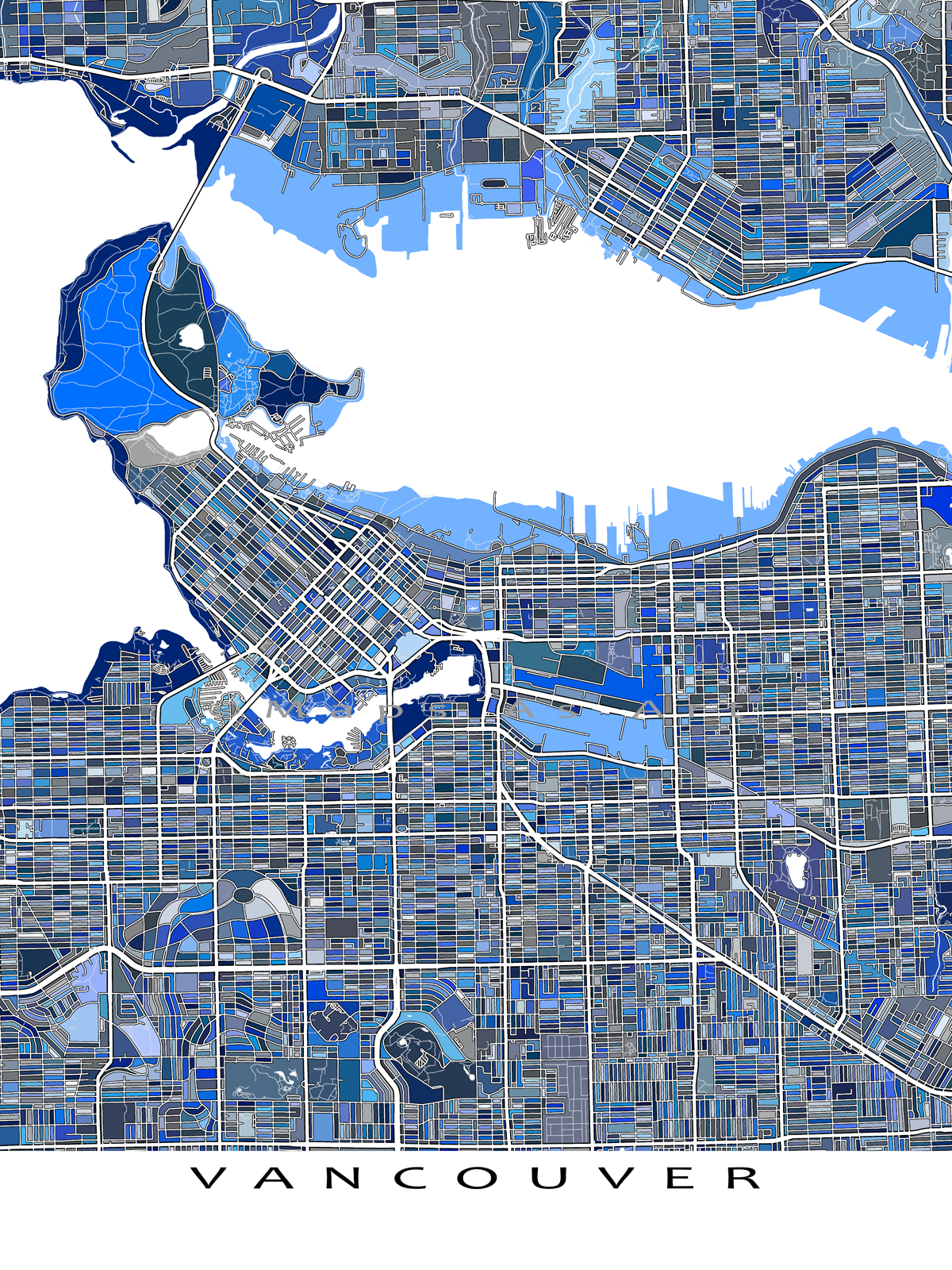 Color printing downtown vancouver - Vancouver Art Print Vancouver Map Bc Canada By Mapsasart