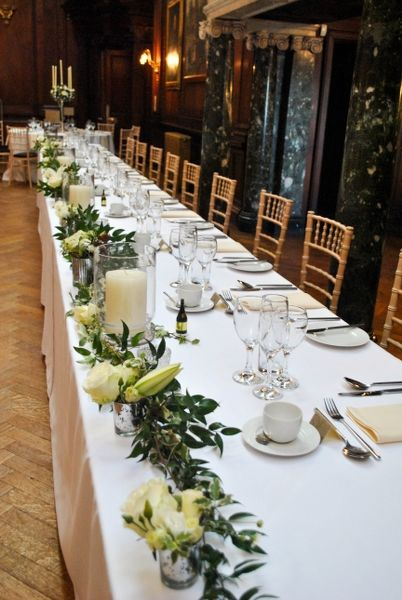 Top Table Garland In 2019 White Wedding Flowers Wedding
