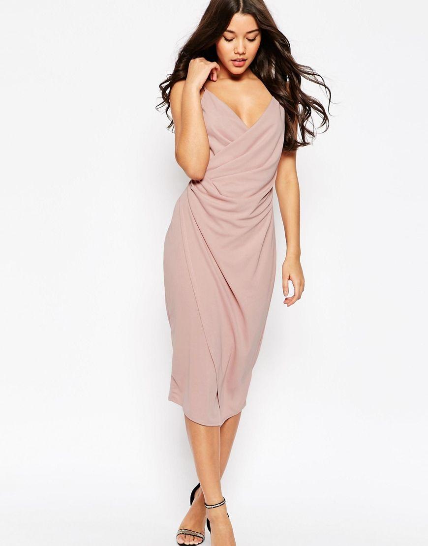 Image 1 of ASOS Cami Drape Crepe Midi Slip Dress | style | Pinterest