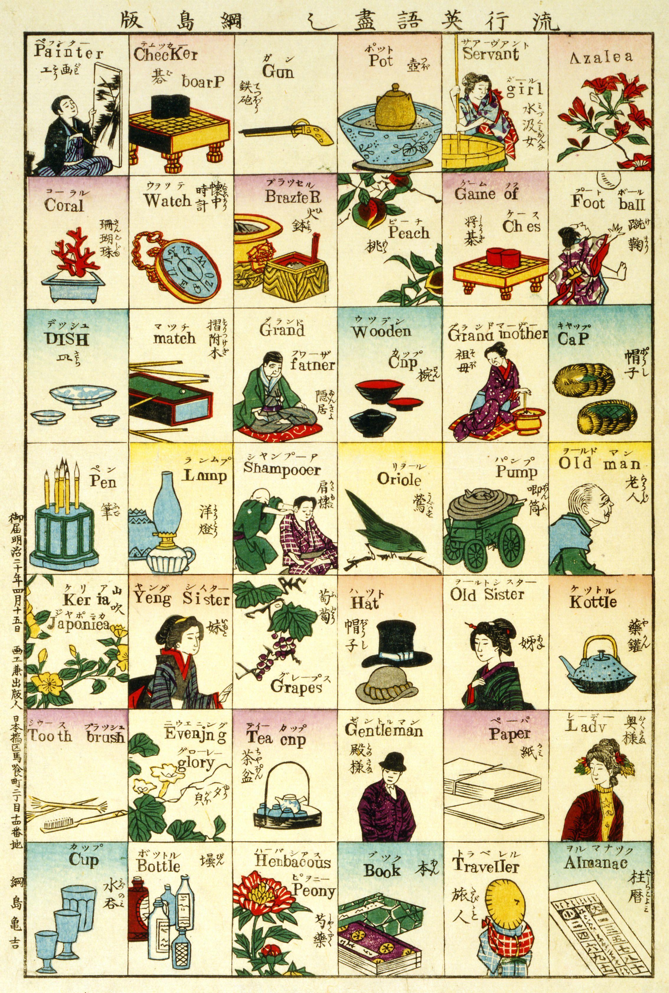 明治時代に作られた英単語を学ぶ木版画『流行英語尽し』 | にっぽん