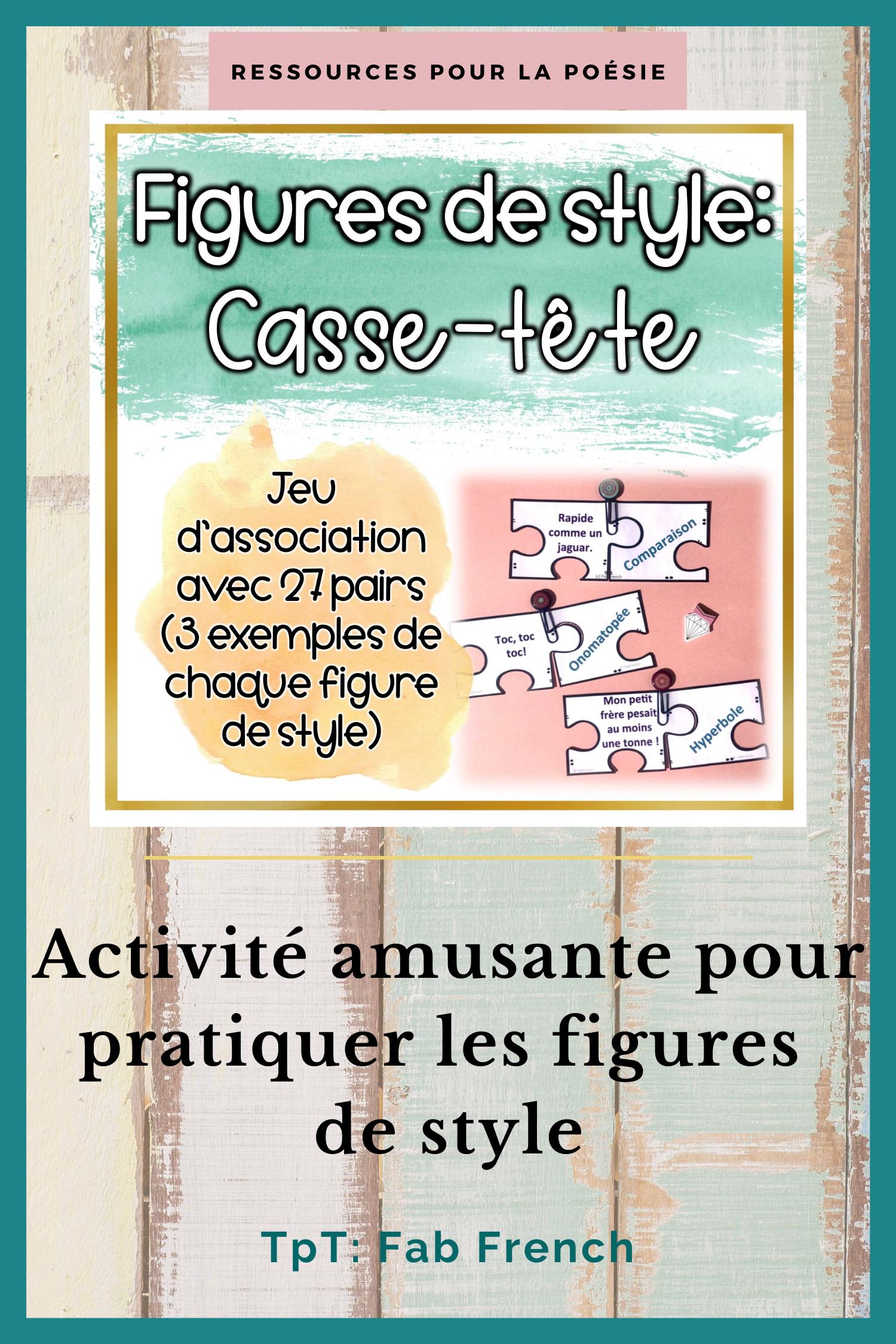 La poésie: Figures de style - Casse-Tête in 2020 ...
