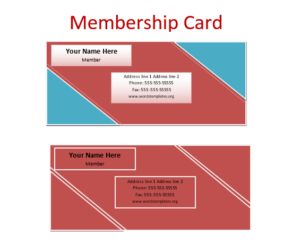 Card Templates For Word Delectable Membership Card Template  Word Excel & Pdf Templates  Templates .
