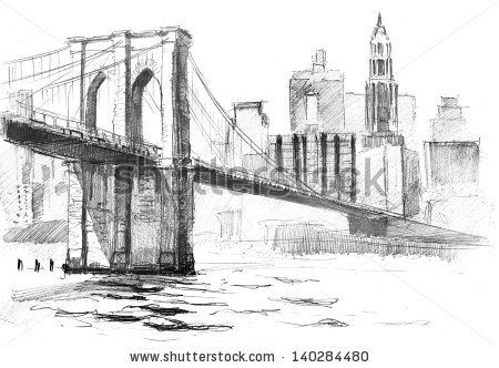 Pencil drawing of a landscape with set of skyscrapers and brooklyn bridge in new york by