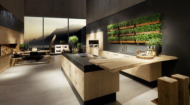 ambiance bois, cuisine design avec mur végétal, peinture grise et - peindre un mur en bois