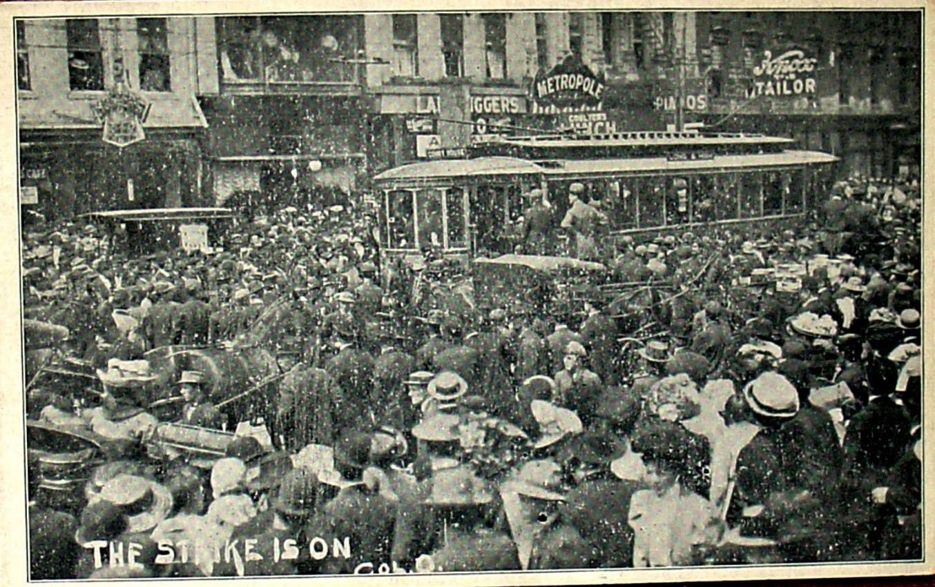 streetcar labor strike 1910 postcard Postcard, History