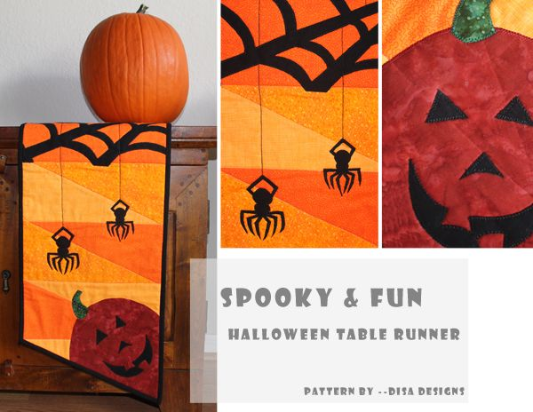 spooky and fun halloween table runner pattern by disa designs