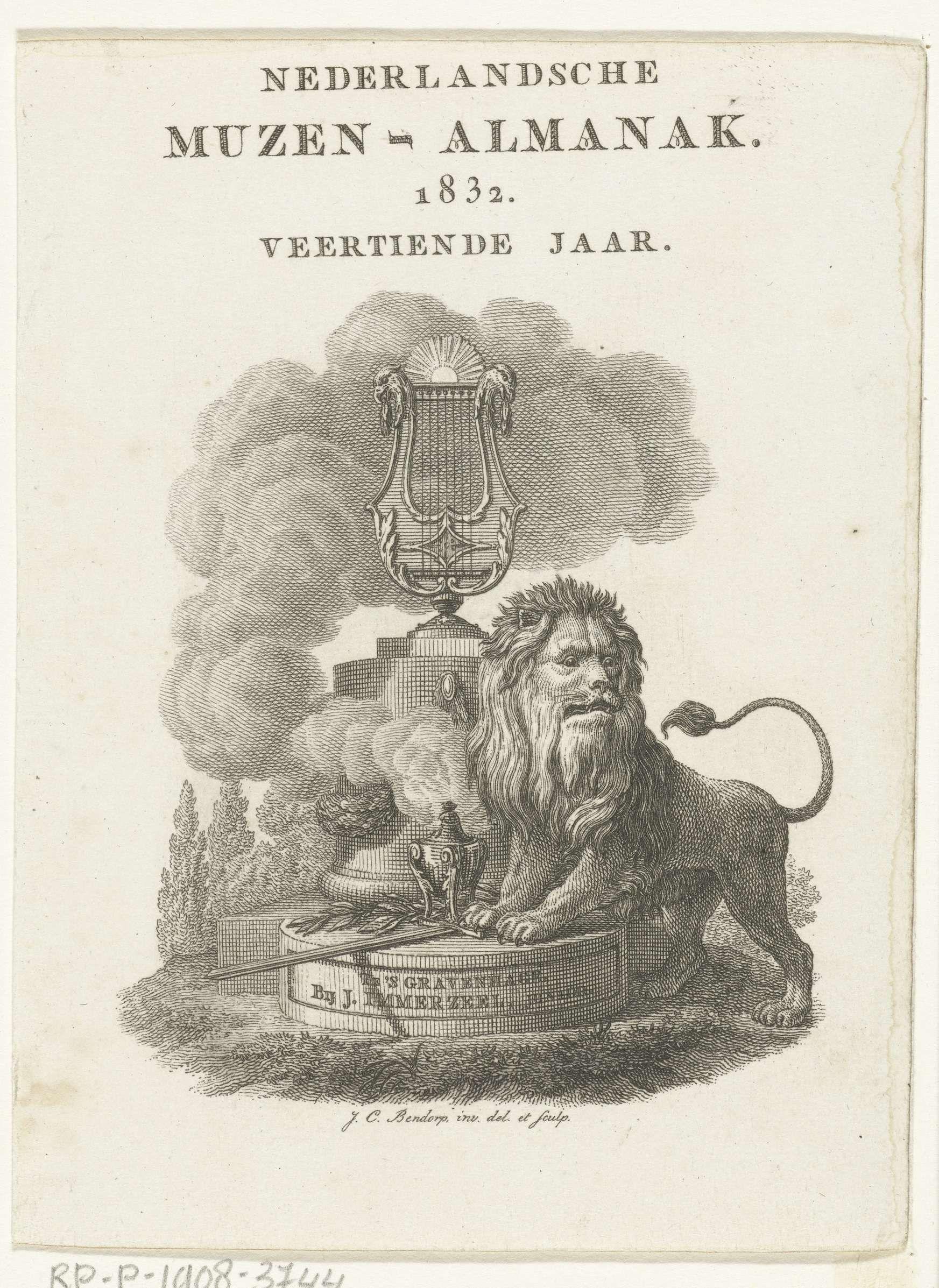 Johannes Christiaan Bendorp | Titelpagina voor: Nederlandsche Muzen-Almanak 1832, Johannes Christiaan Bendorp, 1832 | Nederlandse leeuw staat bij monument met lier en brandend wierookvat.