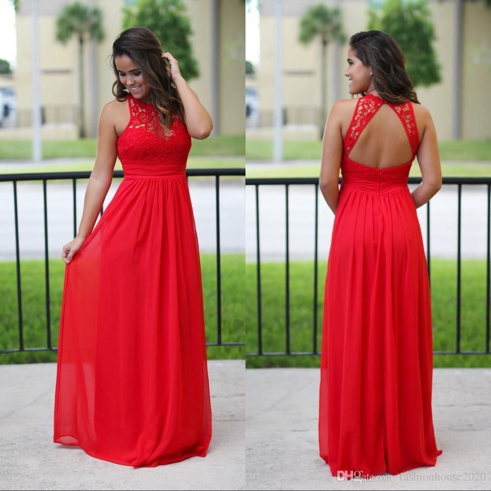 Y Long Chiffon Country Bridesmaid Dresses Red Lace Bridesmaids Dress Beach Backless Maxi