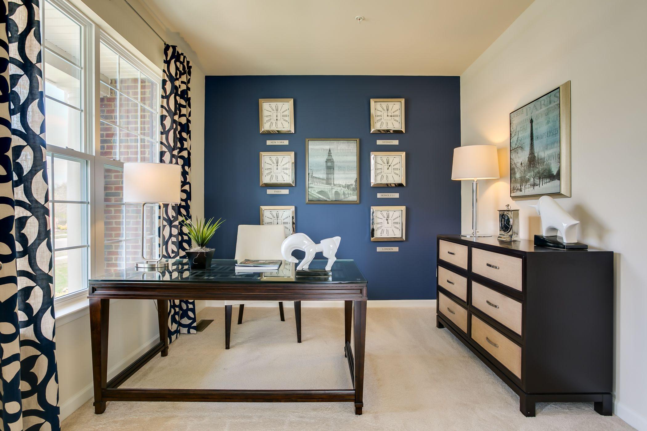 Bainbridge Study Black Living Room Blue Accent Walls Accent Wall