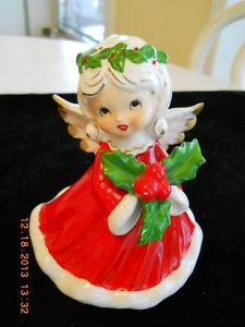 Vintage Ceramic Musical Revolving Christmas Angel (1950's)