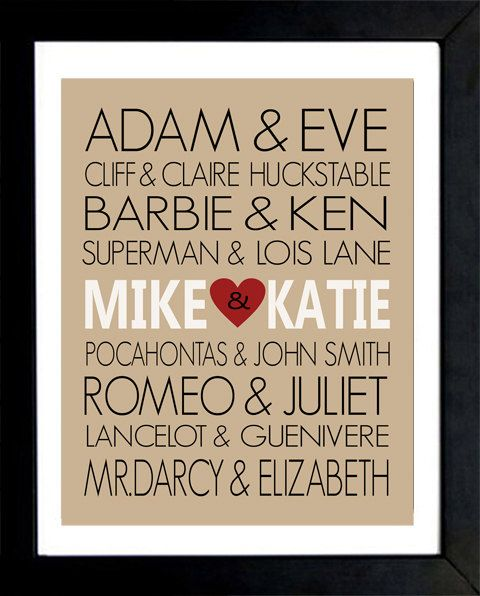 Diy Wedding Gifts For Bride And Groom: Personalized Famous Couples Print
