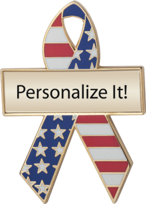 Red, White and Blue Custom Awareness Ribbons   Lapel Pins