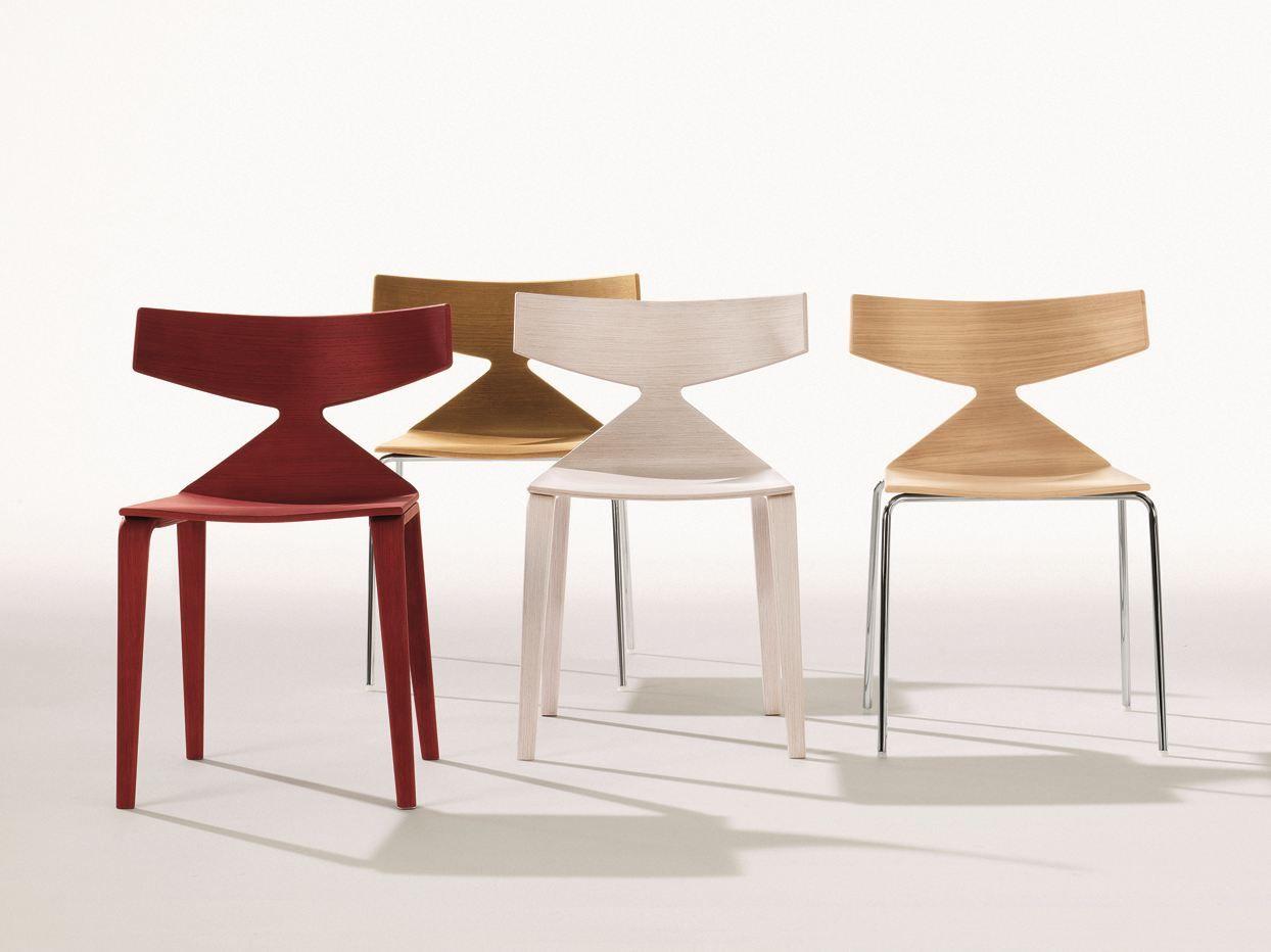 Sedie Moderne Legno E Acciaio.Sedia In Acciaio E Legno Collezione Saya By Arper Design