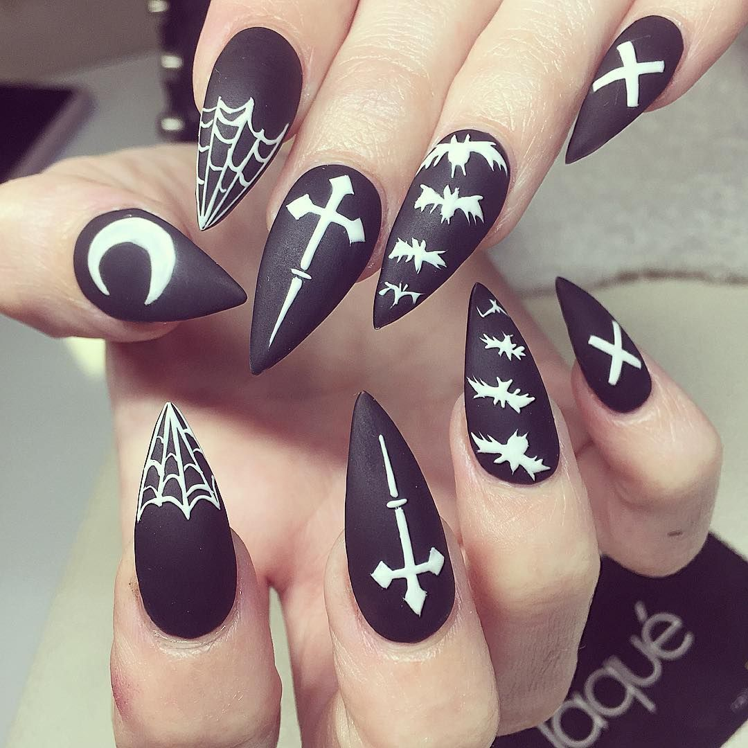 Spiky Matte Occult Halloween Theme Black Witch Goth Nails Halloween Nails Gothic Nails Cute Halloween Nails