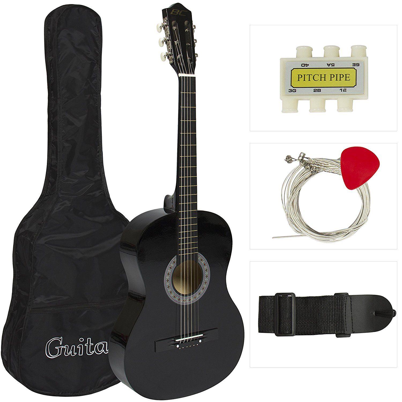 38 Black Acoustic Guitar Starter Package Guitar Gig Bag Strap