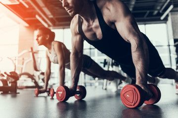 Young Man and Woman Training in Fitness Club. , #Aff, #Woman, #Man, #Young, #Club, #Fitness #Ad