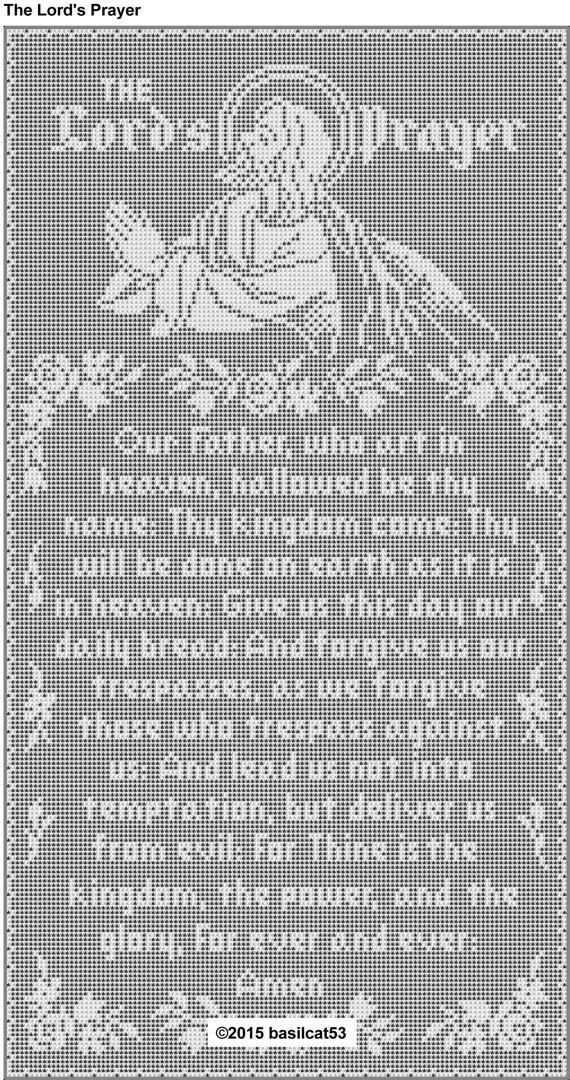 The Lord\'s Prayer Thread Filet Crochet Wall Hanging Pattern ...