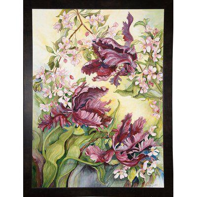Winston Porter 'Parrot Tulips With Cherry Blossoms' Print Format: Black Wood Medium Framed Paper