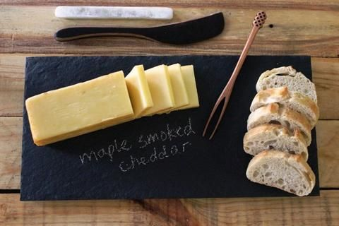 Gift Set - Natural Slate Cheese Plate 6  x 12  - Black - RockTimber & Gift Set - Natural Slate Cheese Plate 6