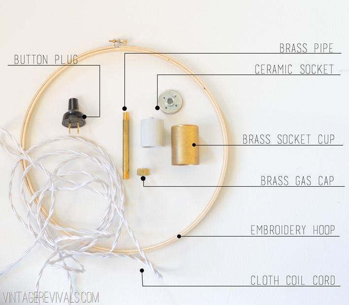 Vintage Revivals Light Fixture: DIY Wood And Brass Hanging Hoop Pendant Lights