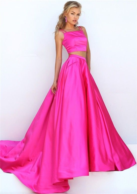 a50599dab9b Gorgeous Two Piece Hot Pink Silk Satin Prom Dress With Spaghetti Straps  Buttons
