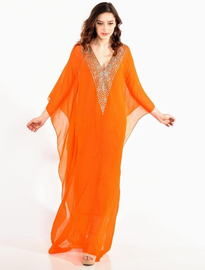 568f5e8cbb kaftan dress BEACH caftan boho maxi dress in orange beaded caftan wedding  dress by BaublesNBloom on Etsy