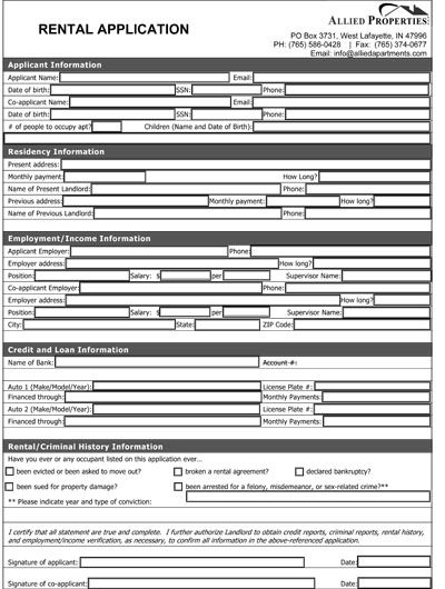 Printable Sample Rental Application Form Pdf Form | Real Estate