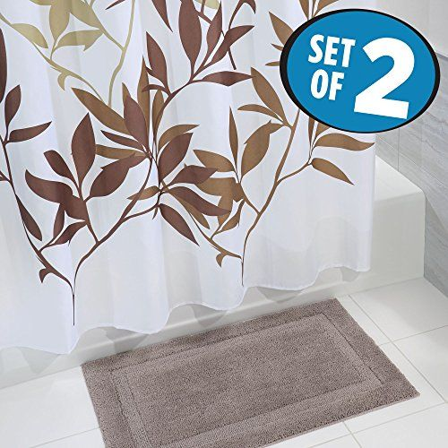 Bathroom Rugs Ideas | mDesign Bathroom Accessory Set Leafy Shower Curtain Spa  Bath MatRug Set of 2 BrownTaupe -- You can find out more details at the  link ...