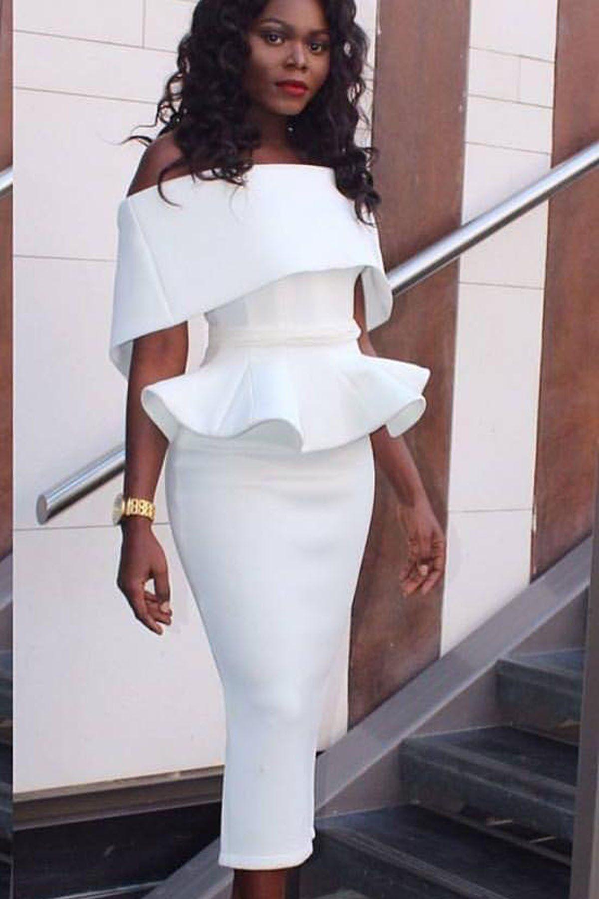 398dbb2b1c Pure Color Off Shoulder Bodycon Sexy Pencil Tee-length Dress,Plus ...