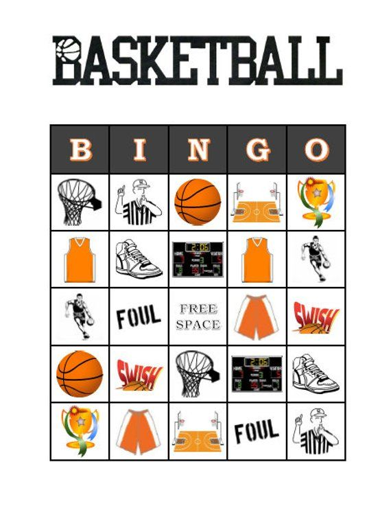 Basketball Bingo 30 Printable Sports Birthday Party Game Cards