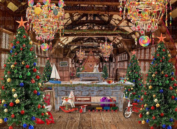 Christmas Toy Shop Photography Backdrop Santa S Workshop