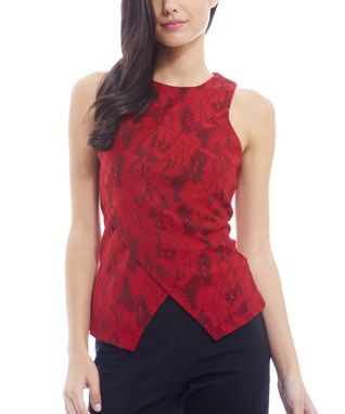 Red Lace Wrap-Front Sleeveless Top - Zulily