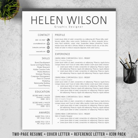 Modern Resume Template | CV Template + Cover Letter + Reference ...