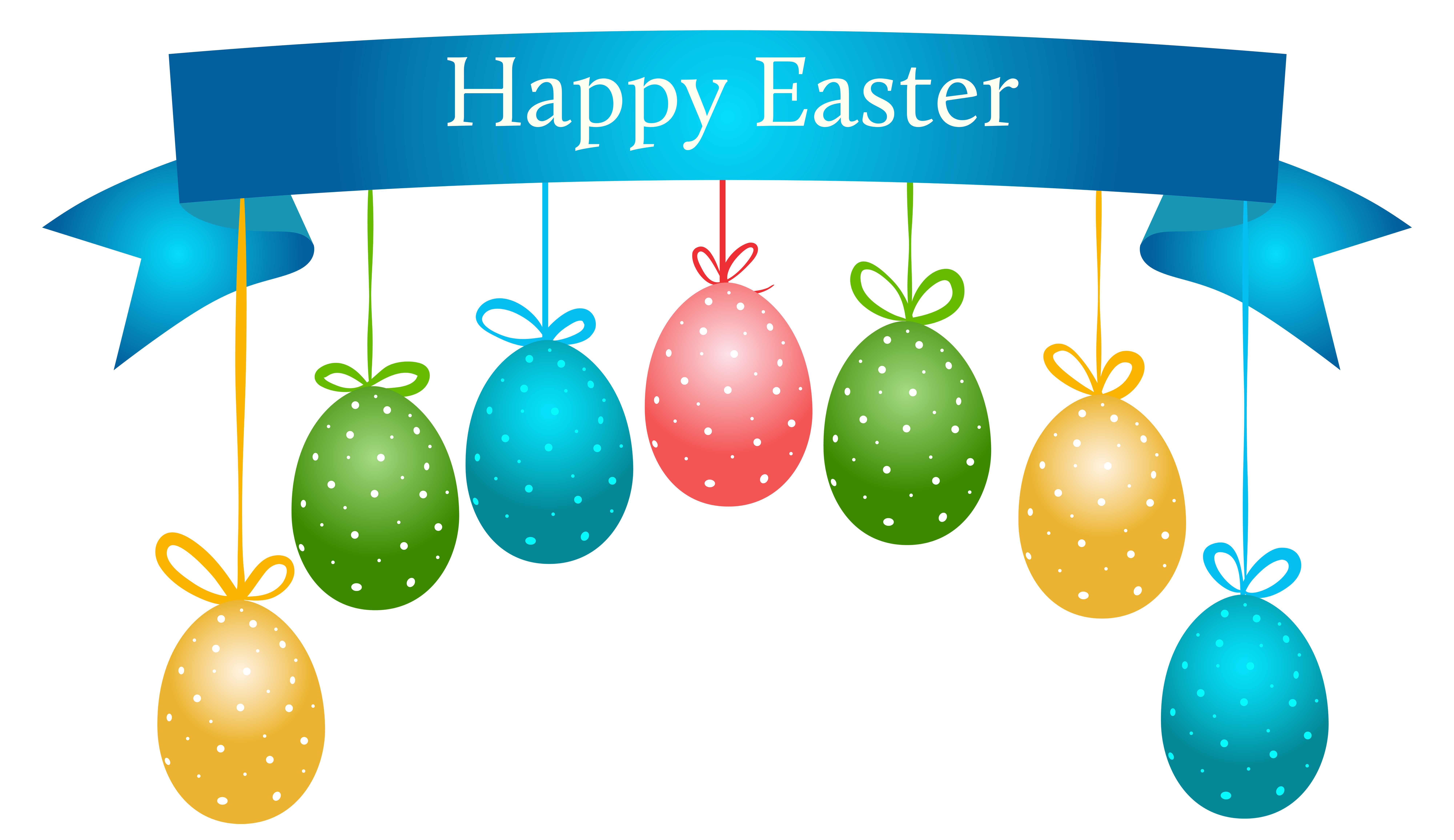 Happy Easter Banner With Hanging Eggs Transparent Png Clip Art Image Happy Easter Banner Easter Banner Happy Easter