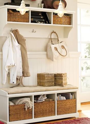 Cute Storage Bench Shelf With Baskets Entryway