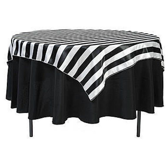 Wholesale Lot Of 10 Tablecloths Wedding Party 3 Stripes Black And White Or Navy Blue Black And White Theme Black White Parties White Party