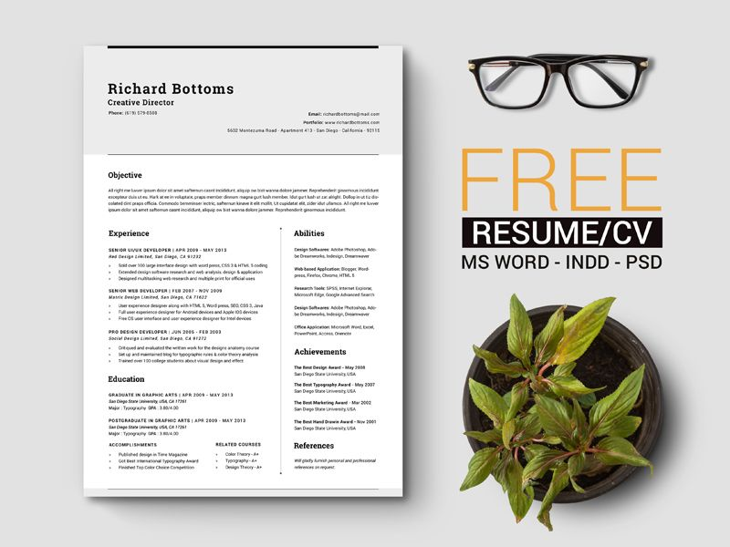 free-simple-resume-template-with-cover-letter-for-creative - creative director resume