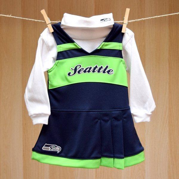 e2d08690126 Seahawks Infant Girl 2PC Turtleneck Cheerleader Set | Baby Sports ...