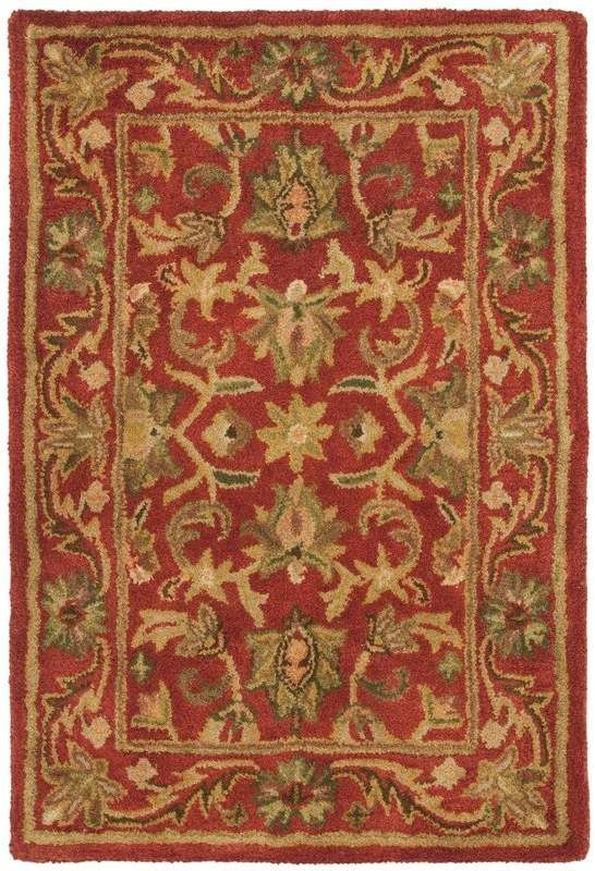 Charlton Home Dunbar Hand Tufted Wool Red Gold Green Area Rug